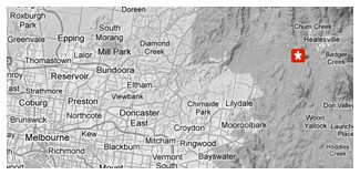 Map showing location of Badger's Brook Estate in the Yarra Valley